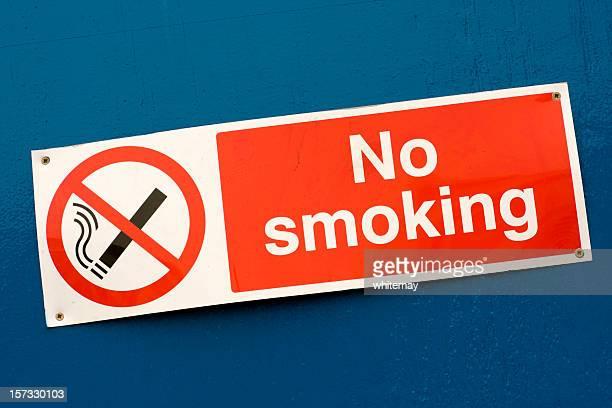No smoking sign on blue