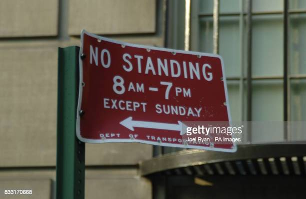 A no standing road sign on the streets of New York