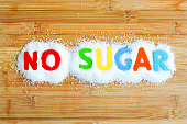 No sugar text from magnetic letters concept