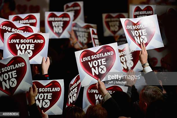 No supporters attend a rally where Better Together Leader Alistair Darling and former Labour Prime Minister Gordon Brown made their case for a No...