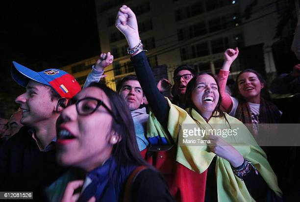 'No' supporters celebrate following their victory in the referendum on a peace accord to end the 52yearold guerrilla war between the FARC and the...