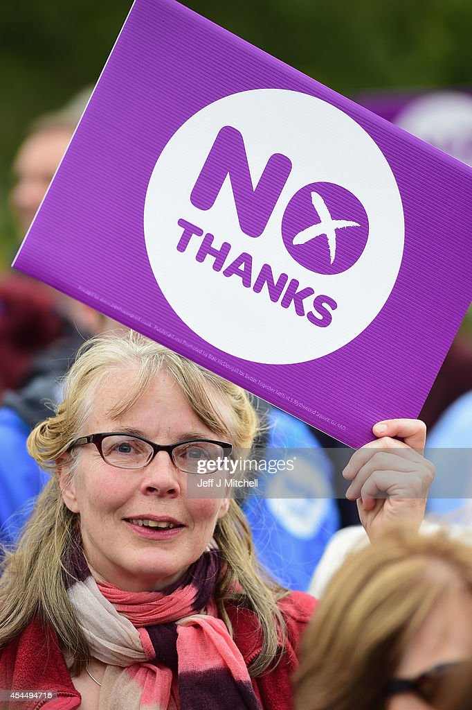 No supporters gather to listen to Jim Murphy, Shadow Secretary of State for International Development at a Better Together event at the Mound on September 2, 2014 in Edinburgh,Scotland. Mr Murphy postponed his 100 towns 100 days tour, following being hit by eggs last Friday, claiming that the Yes campaign had organised mobs to intimidate not only him but the undecided voters.