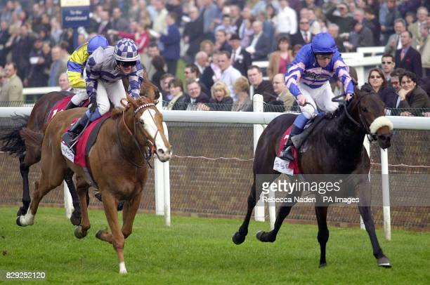No Time with jockey Luke Fletcher wins ahead of Rectangle with jockey Adrian Nicholls in the totecouk Sprint at Ascot