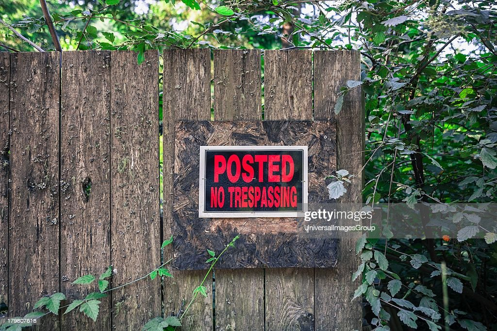 No Trespassing Sign on wooden fence Oregon