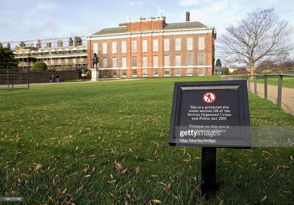 A no trespassing sign outside the State Apartments of Kensington Palace and Apartment 1A which is covered in scaffolding whilst refurbishment works are being carried out on January 08, 2013 in London, England. Prince William, Duke of Cambridge and Catherine, Duchess of Cambridge are scheduled to take up residence in apartment 1A of the Palace in 2013.