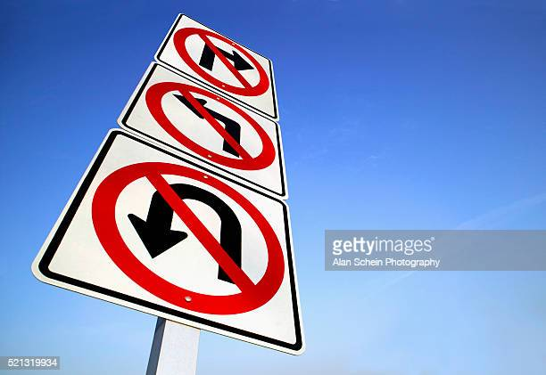 'No Turns' Road Sign