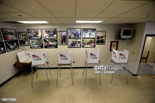 No voters were present for the first three hours of business for the Los Angeles County Consolidated Election at the Los Angeles County Registrar's...