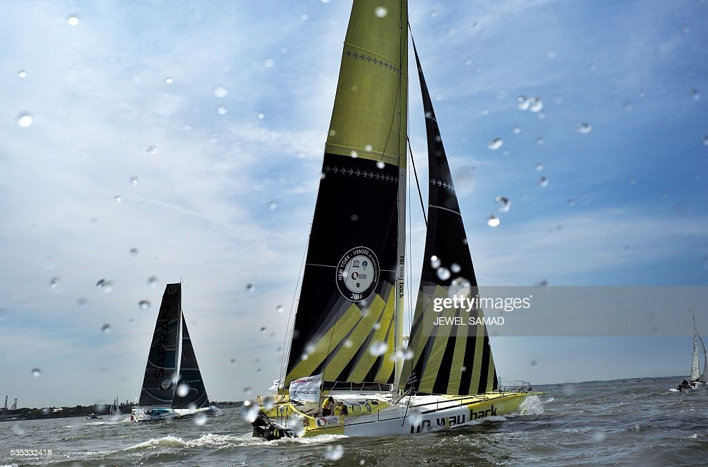 No Way Back's skipper Pieter Heerema sails on the Hudson River during the New York-Vendee Race, on May 29, 2016 in New York. / AFP / Jewel SAMAD