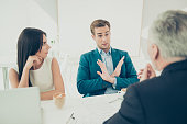 No. Young businessman don't want to sign contract