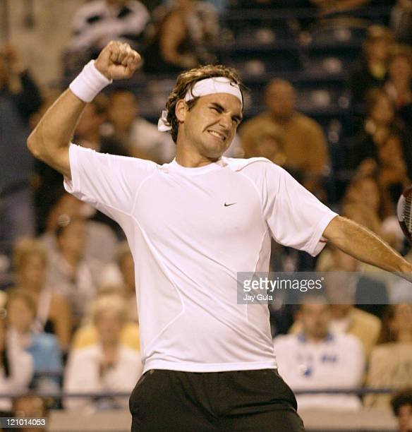 No1 seed Roger Federer pumps his fist after advancing to the final tonight vs Fernando Gonzalez of Chile at the Rogers Cup ATP Master Series tennis...