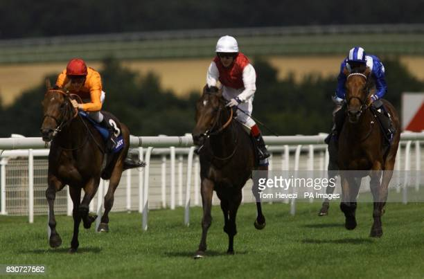 No2 Alexius ridden by Kieren Fallon wins the 3rd race from No3 Demophilos and Jamie Spencer with No 5 Nayef and Richard Hills 3rd in The Peugeot...