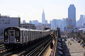 No.7 elevated subway train with Manhattan skyline