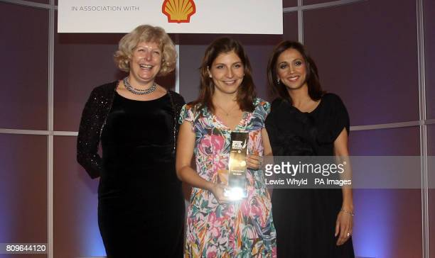 Noa Epstein wins the MBA Star Award at the Women of the Future Awards presented by Riz Lateef right and Sally Martin from Shell at the London...