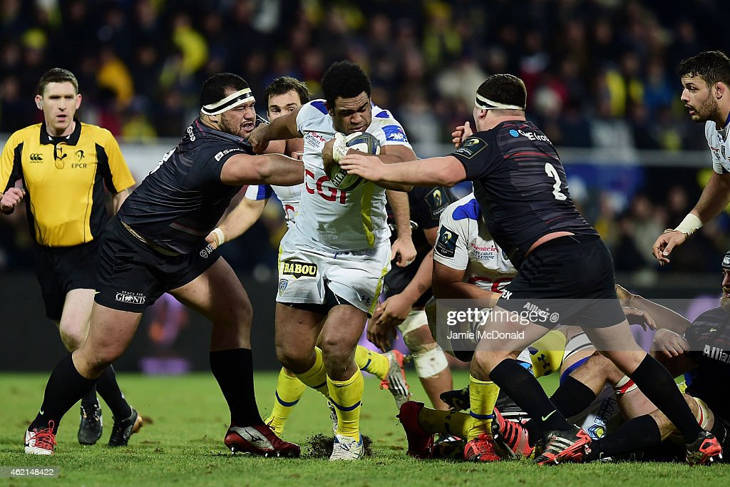 <a gi-track='captionPersonalityLinkClicked' href=/galleries/search?phrase=Noa+Nakaitaci&family=editorial&specificpeople=8281076 ng-click='$event.stopPropagation()'>Noa Nakaitaci</a> of Clermont bursts through the Saracens defence during the European Rugby Champions Cup Pool 1 match between Clermont Auvergne and Saracens at Stade Marcel Michelin on January 25, 2015 in Clermont-Ferrand, France.