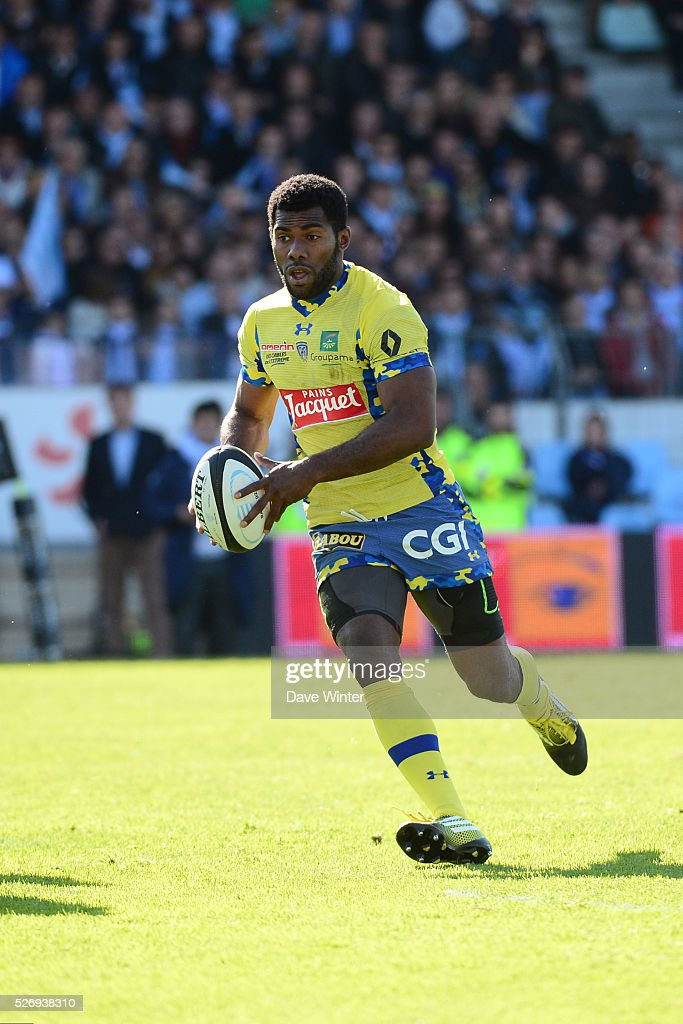 Noa Nakaitaci of Clermont during the French Top 14 rugby union match between Racing 92 v Clermont at Stade Yves Du Manoir on May 1, 2016 in Colombes, France.