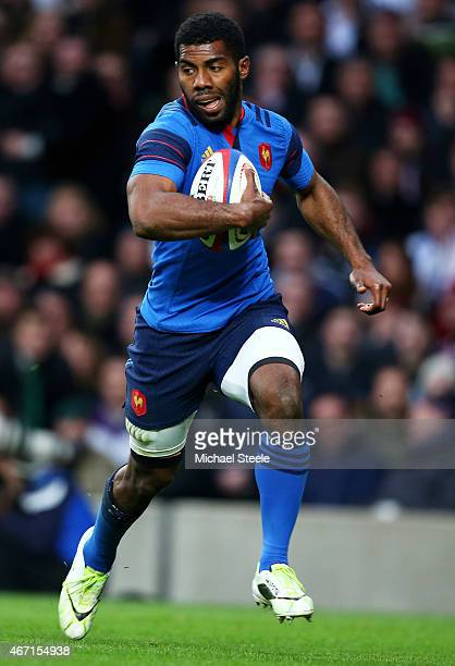 Noa Nakaitaci of France breaks upfield to score his team's second try during the RBS Six Nations match between England and France at Twickenham...