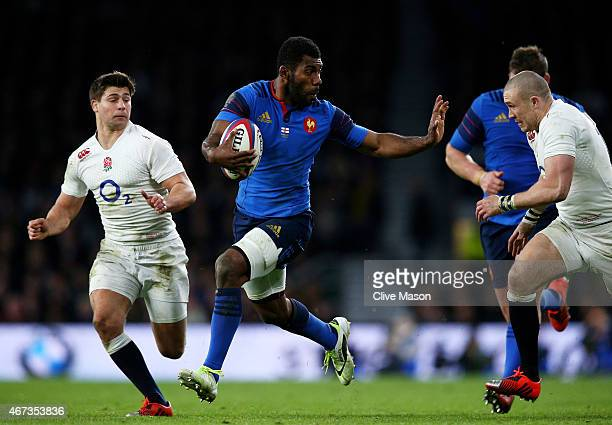 Noa Nakaitaci of France makes a break during the RBS Six Nations match between England and France at Twickenham Stadium on March 21 2015 in London...