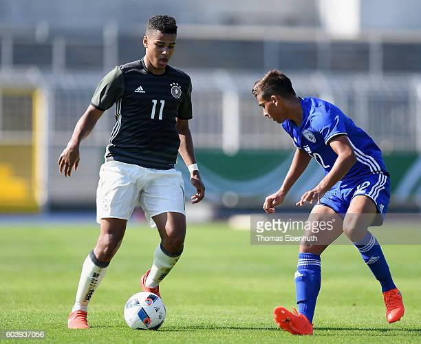 Noah Awuku of Germany and Tomer Mahluf of Israel vie for the ball during the Under 17 four nations tournament match between U17 Germany and U17...