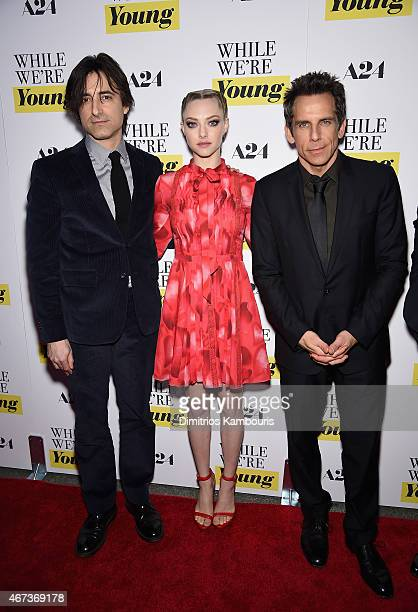 Noah Baumbach Amanda Seyfried and Ben Stiller attend the 'While We're Young' New York Premiere at Paris Theater on March 23 2015 in New York City