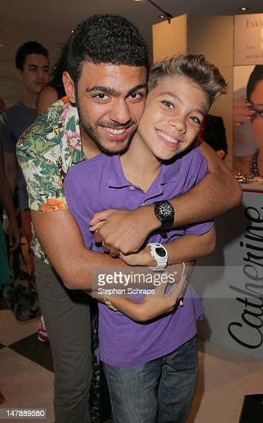 Noah Becker and brother Elias Balthasar Becker attend the 'Sava Nald' Fashion Show at the Adlon Hotel Unter den Linden 77 on July 5 2012 in Berlin...