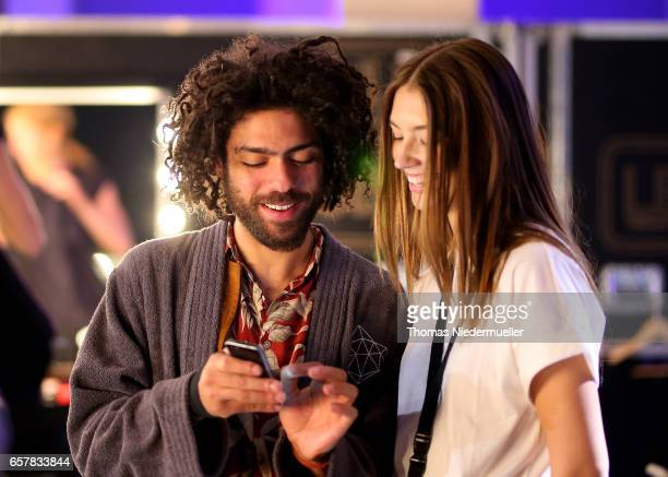 Noah Becker and Lorena Rae are seen backstage prior to the sOliver THE FUSION COLLECTION Fashion Show at Festhalle on March 25 2017 in Frankfurt am...