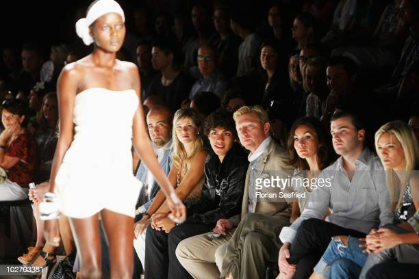 Noah Becker Boris Becker actress Nadine Warmuth Gregor Nebel and Jessica Stockmann sit in frot row at the Laurel Show during the Mercedes Benz...