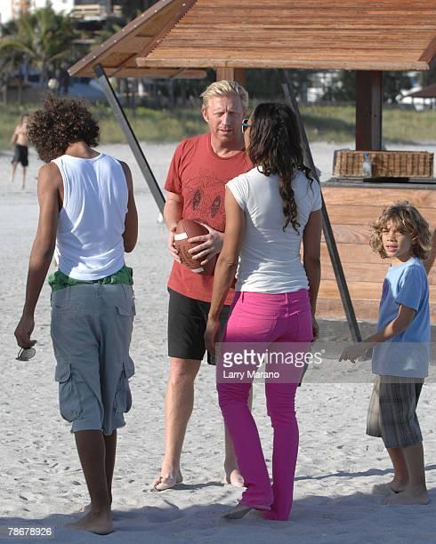 Noah Becker Boris Becker Barbara Becker and Elias Becker walk on South Beach on December 30 2007 in Miami Florida