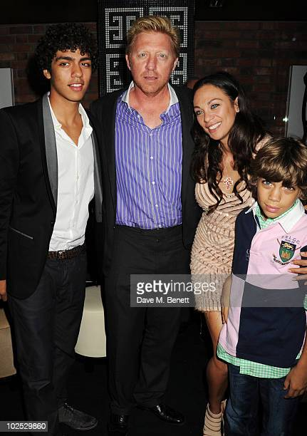 Noah Becker Boris Becker Sharlely Becker and Elias Becker attend Boris Becker's birthday party at Mortons on June 29 2010 in London England