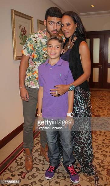 Noah Becker brother Elias Balthasar Becker and mother Barbara Becker attend the 'Sava Nald' Fashion Show at the Adlon Hotel Unter den Linden 77 on...
