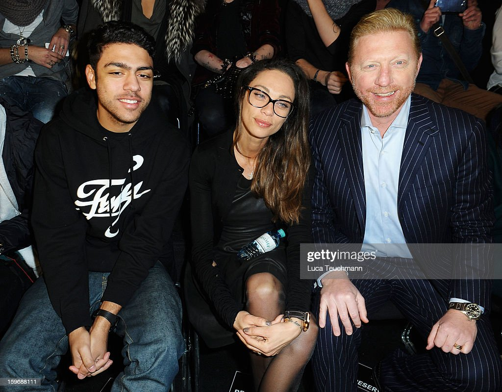 Noah Becker, Lilly Becker and Boris Becker attend Zoe Ona Autumn/Winter 2013/14 fashion show during Mercedes-Benz Fashion Week Berlin at Brandenburg Gate on January 18, 2013 in Berlin, Germany.