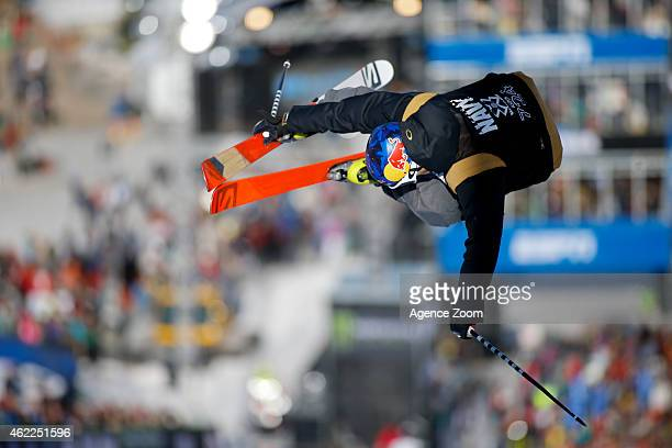 Noah Bowman of Canada competes during the Winter X Games Men's Ski Superpipe on January 25 2015 in Aspen USA
