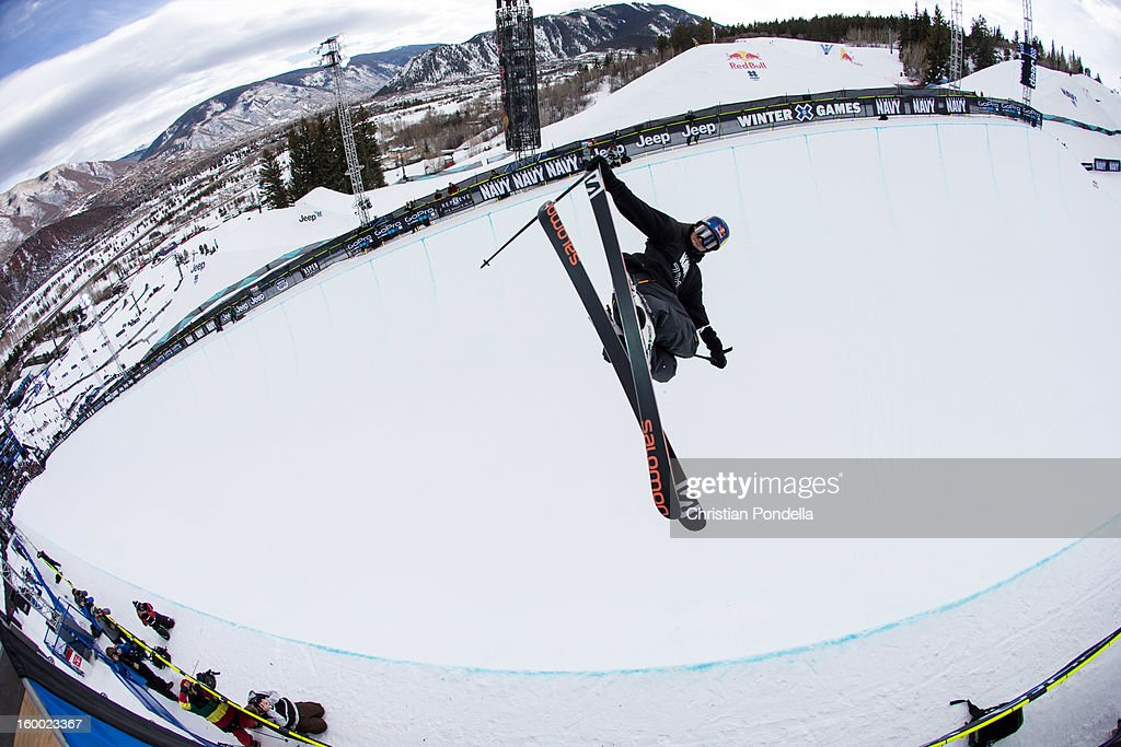 Noah Bowman of the USA skis during Men's Superpipe elimination at the X Games Aspen 2013 at Buttermilk January 24, 2013 in Aspen, Colorado.