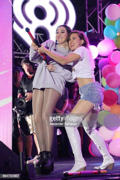 Noah Cyrus and Miley Cyrus perform on stage during the iHeartSummer '17 Weekend by ATT at Fontainebleau Miami Beach on June 10 2017 in Miami Beach...