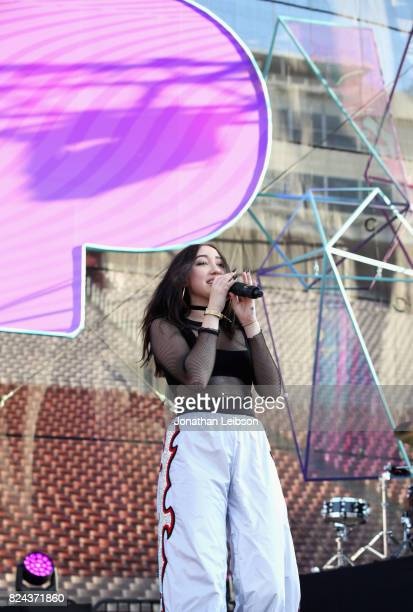 Noah Cyrus performs onstage at Pandora Sounds Like You Summer at Los Angeles Memorial Coliseum on July 29 2017 in Los Angeles California