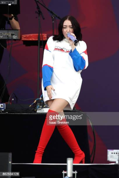 Noah Cyrus performs onstage during the Daytime Village Presented by Capital One at the 2017 HeartRadio Music Festival at the Las Vegas Village on...
