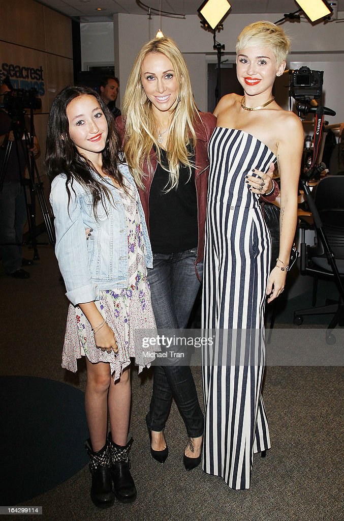 Noah Cyrus, Tish Cyrus and <a gi-track='captionPersonalityLinkClicked' href=/galleries/search?phrase=Miley+Cyrus&family=editorial&specificpeople=3973523 ng-click='$event.stopPropagation()'>Miley Cyrus</a> attend The Ryan Seacrest Foundation West Coast debut of new multi-media broadcast center 'Seacrest Studios' held at CHOC Children's Hospital on March 22, 2013 in Orange, California.