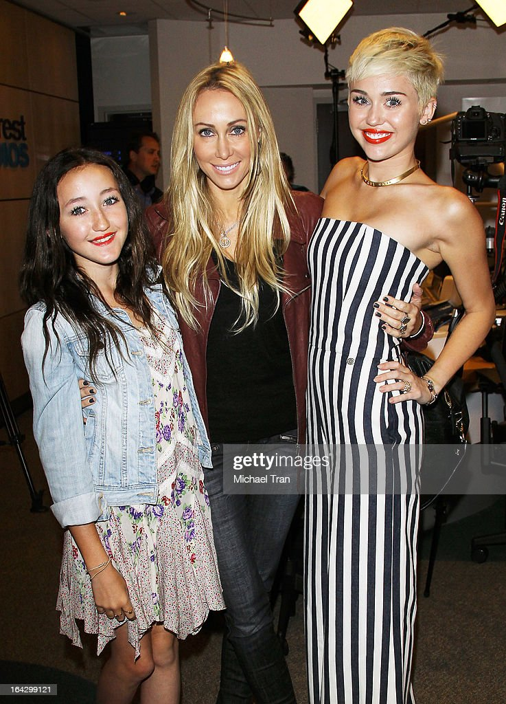 Noah Cyrus, Tish Cyrus and Miley Cyrus attend The Ryan Seacrest Foundation West Coast debut of new multi-media broadcast center 'Seacrest Studios' held at CHOC Children's Hospital on March 22, 2013 in Orange, California.