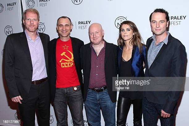 Noah Emmerich Joel Fields Joe Weisberg Keri Russell and Matthew Rhys attend 'The Americans' panel during 2013 PaleyFest Made In New York at The Paley...
