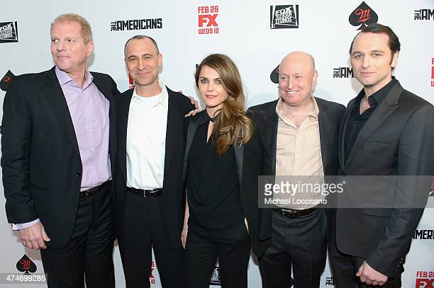 Noah Emmerich Joel Fields Keri Russell Joe Weisberg and Matthew Rhys attend 'The Americans' season 2 premiere at the Paris Theater on February 24...