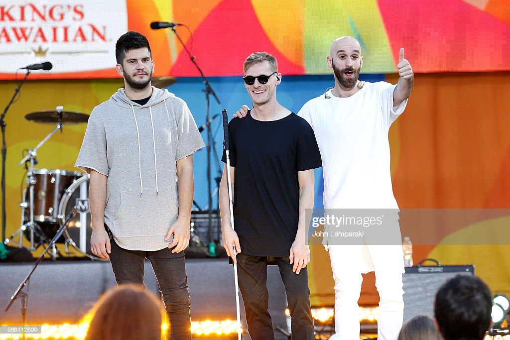 Noah Feldshuh Casey Harris and Sam Harris of X Ambassadors pose onstage on ABC's 'Good Morning America' at SummerStage at Rumsey Playfield Central...