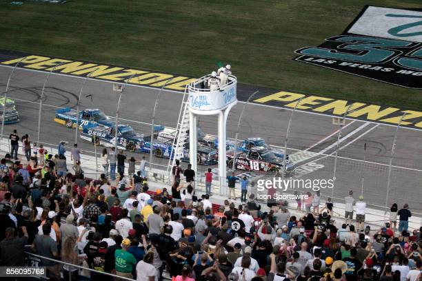 Noah Gragson Kyle Busch Motorsports Toyota Tundra leads the field during a greenflag restart during the Las Vegas 350 NASCAR Camping World Truck...