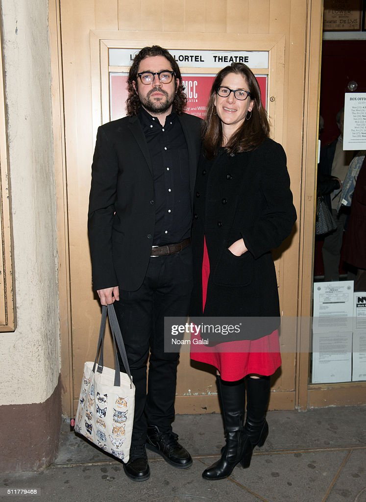 Noah Haidle and Anne Kauffman attend 'Smokefall' opening night at Lucille Lortel Theatre on February 22 2016 in New York City