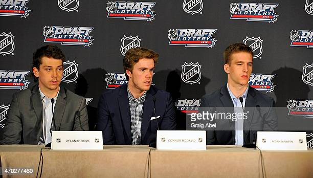 Noah Hanifin Connor McDavid and Dylan Strome meet the media at the National Hockey League Draft Lottery on April 18 2015 at the Sportsnet Studios in...