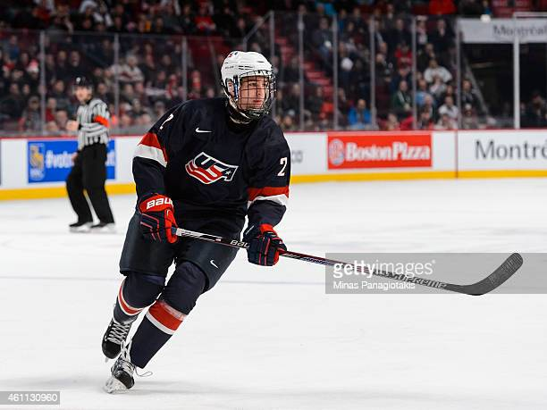 Noah Hanifin of Team United States skates in a quarterfinal round during the 2015 IIHF World Junior Hockey Championships against Team Russia at the...
