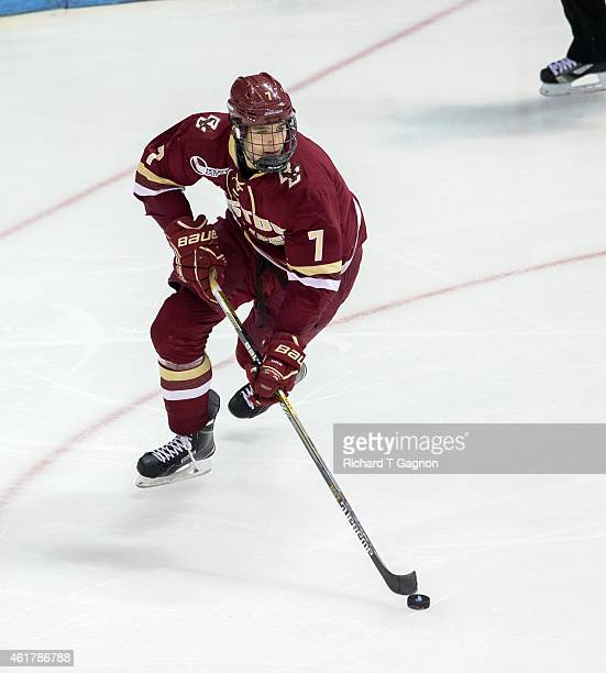Noah Hanifin of the Boston College Eagles controls the puck during NCAA hockey at Agganis Arena on January 16 2015 in Boston Massachusetts The Eagles...