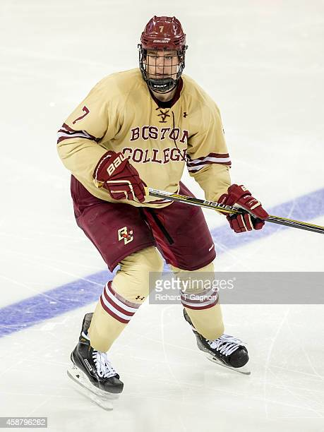 Noah Hanifin of the Boston College Eagles skates against the Boston University Terriers during NCAA hockey at Kelley Rink on November 7 2014 in...