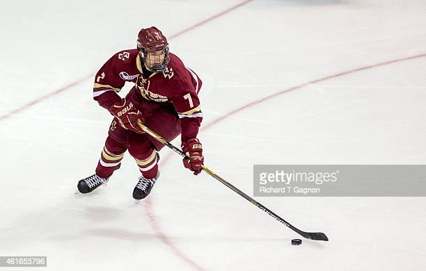 Noah Hanifin of the Boston College Eagles skates against the Boston University Terriers during NCAA hockey at Agganis Arena on January 16 2015 in...