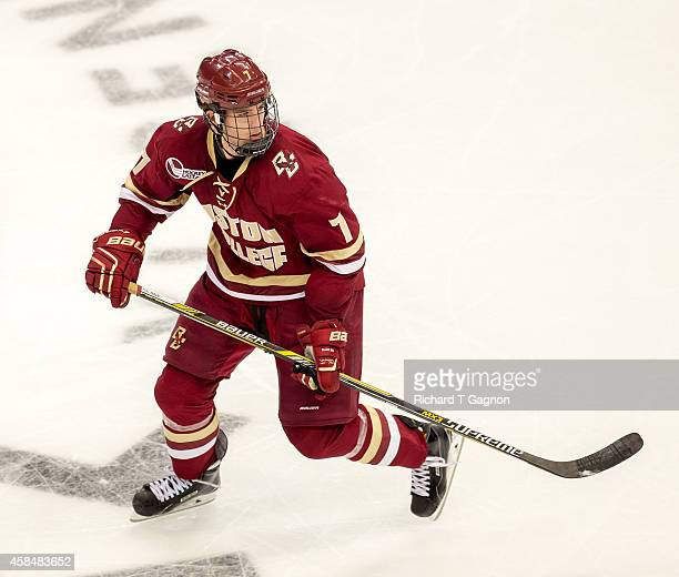 Noah Hanifin of the Boston College Eagles skates against the Connecticut Huskies during NCAA hockey at the XL Center on November 5 2014 in Hartford...