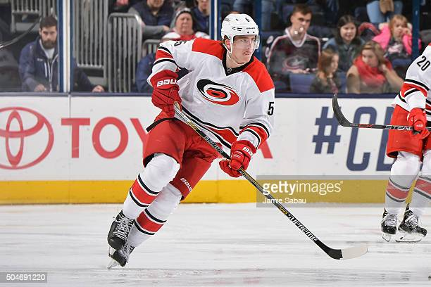 Noah Hanifin of the Carolina Hurricanes skates against the Columbus Blue Jackets on January 9 2016 at Nationwide Arena in Columbus Ohio