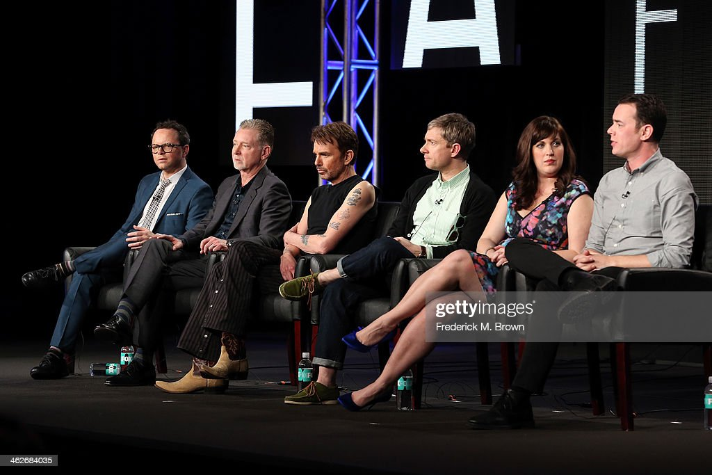 Noah Hawley, Executive Producer/Writer, Warren Littlefield, Executive Producer, actors Billy Bob Thornton, Martin Freeman, Allison Tolman and Colin Hanks of the television show 'Fargo' onstage during the FX portion of the 2014 Television Critics Association Press Tour at the Langham Hotel on January 14, 2014 in Pasadena, California.